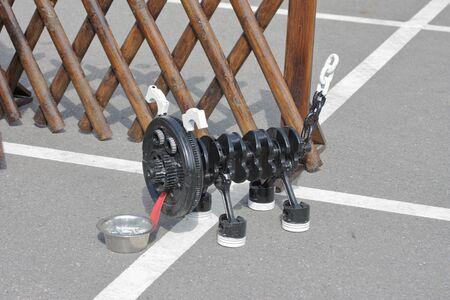 MINSK, MINSK, BELARUS 6 JUNE 2019, Exposition at the exhibition BELAGRO 2019. Metal dog made of parts of an internal combustion engine.