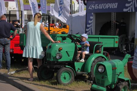 MINSK, MINSK, BELARUS 6 JUNE 2019, Exposition at the exhibition BELAGRO 2019. Visitors are passionate about viewing.