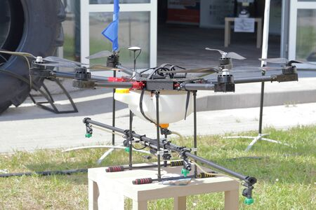 MINSK, MINSK, BELARUS 6 JUNE 2019, Exposition at the exhibition BELAGRO 2019. Drone for processing crops with chemicals.