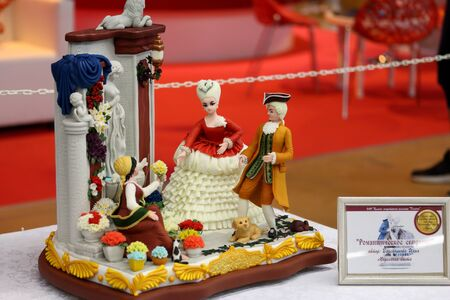 MINSK, MINSK, BELARUS 6 JUNE 2019, Exposition at the exhibition BELAGRO 2019. Food industry products. Highly artistic products confectioners.