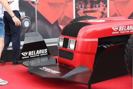 MINSK, MINSK, BELARUS 6 JUNE 2019, Exposition at the exhibition BELAGRO 2019. A craft for entertaining visitors. Mock race car.