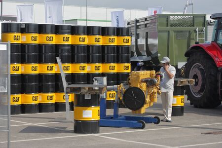 MINSK, MINSK, BELARUS 6 JUNE 2019, Exposition at the exhibition BELAGRO 2019. A stack of barrels with fuels and lubricants.