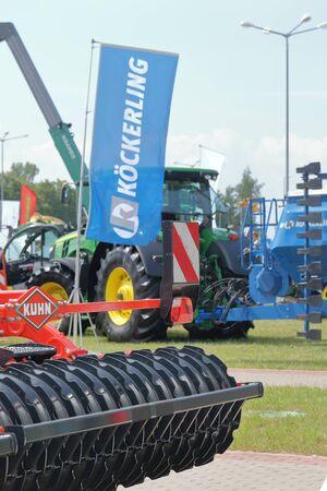 MINSK, MINSK, BELARUS 6 JUNE 2019, Exposition at the exhibition BELAGRO 2019. Close-up elements of agricultural machinery. Redakční