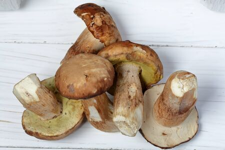 A few fresh porcini mushrooms on a background of white boards.