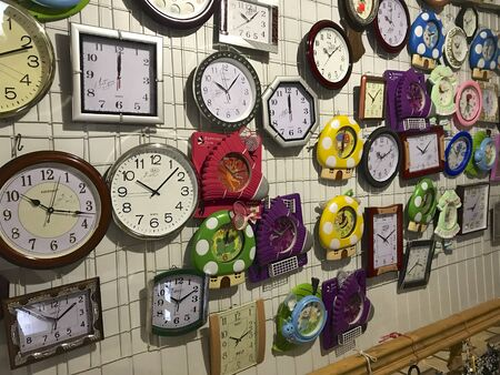 UKRAINE, TRANSCARPATHIA, SEPTEMBER 3, 2019, Wall clock in the store. Different types, sizes and colors