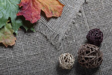 Colorful autumn leaves on a background of rough linen cloth. Near rattan balls.