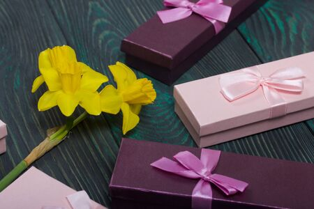 A bouquet of yellow daffodils lies on the surface of brushed pine boards. Near cardboard boxes with gifts. Pink and lilac, decorated with ribbon bows. Stockfoto