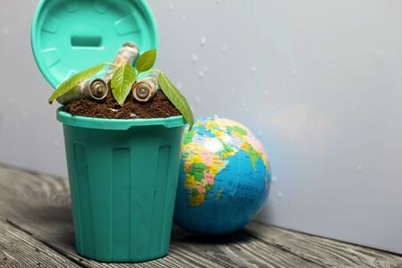 Trash bin filled with earth. A sprout grows in it. Nearby lies a globe and spent batteries coated with corrosion. World Environment Day.