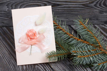 Greeting card with elements of pink shades. Spruce branch. On pine planks in black.
