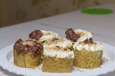 Sponge cake with butter cream. Sprinkled with peanuts. Close-up shot.