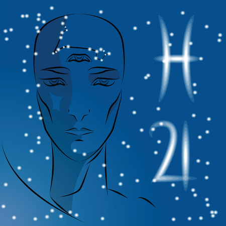 Sign of Zodiac Pisces. Girl is fortuneteller with third eye, constellation, sign of zodiac and planet as protector. Vector background of stars. Trigon water. Illustration
