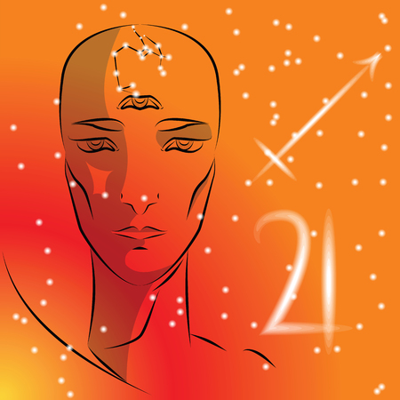 Sign of zodiac Sagittarius. Girl is fortuneteller with third eye, constellation, sign of zodiac and planet as protector. Vector background of stars. Trigon fire. Иллюстрация
