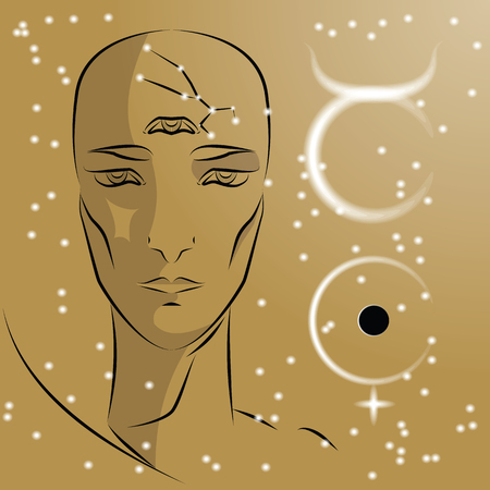 Sign of zodiac Taurus. Girl is fortuneteller with third eye, constellation, sign of zodiac and planet as protector. Vector background of stars. Trigon is earth.