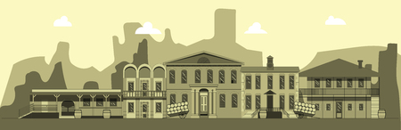 City street in style of wild west. Building, tavern bank and other buildings on background of mountains. Illustration in style of flat Иллюстрация