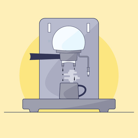 Coffee maker makes hot coffee. Mug stands on stand. Illustration in style of flat. Иллюстрация