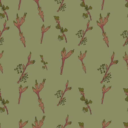 Spring branches seamless pattern. Pattern in pastel colors.