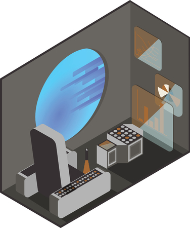 Cabin space shuttle pilot. Monitors and management interfaces. Illuminator with outer space. Isometric projection.
