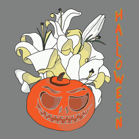 Pumpkin for Halloween. Jack-o-lantern with lily flowers and Halloween inscription in isometric projection