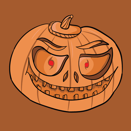 Pumpkin for Halloween. Jack-o-lantern hand drawing. Element for design on holiday.