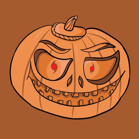 Pumpkin for Halloween. Jack-o-lantern hand drawing. Element for design on holiday. Ilustração Vetorial