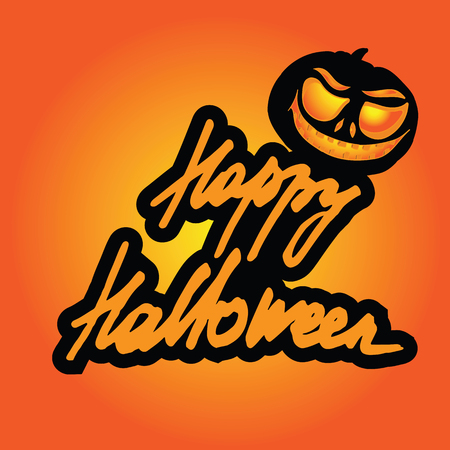 Inscription of Happy Halloween lettering. Cartoon background. Pumpkin jack-o'-lantern and stylized inscription. Title to invitation.