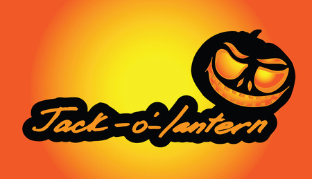 Lettering Jack-o-lantern with creative elements. Pumpkin Lantern with burning eyes. Background for Halloween