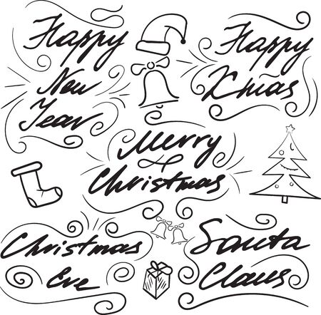 Set of lettering for Christmas cards and congratulations. Hand drawing. Elements of design. A cap, a sock, bells and a Christmas tree.