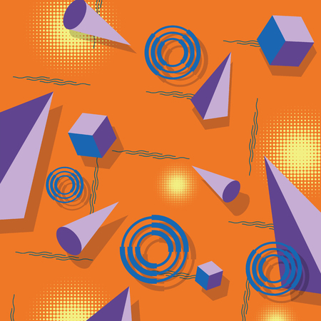 Abstract geometric pattern. Memphis style. Retro, bright colorful. Trendy colors. 3d pyramids, cubes and cones. Composition.