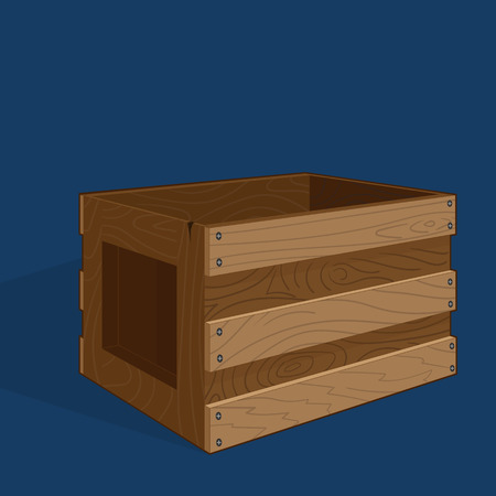 Empty wooden box made of boards. Image of the object in perspective. Vector drawing. Wood texture.