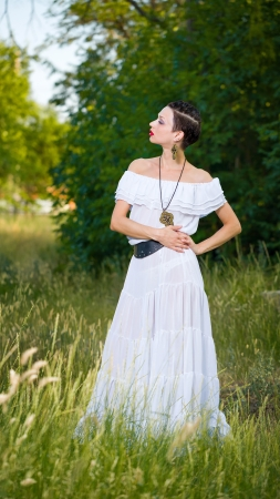 leathern: Girl in a White Dress on the Nature