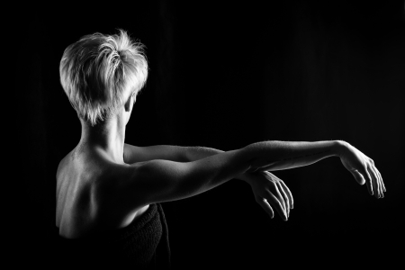 Attractive girl dancing, shot in black and white version