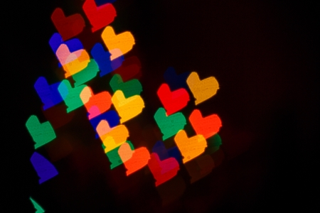 Multicolored hearts as abstract background for Valentines day photo