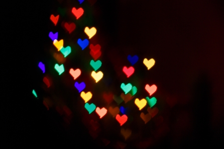 Multicolored hearts as abstract background for Valentine's day photo