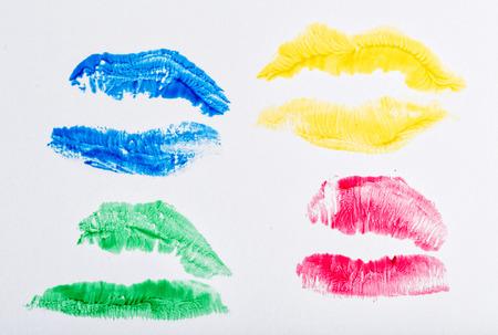 Imprint of lipstick passionate female lips closeup shot photo
