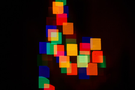 Abstract bokeh background in the form of squares on the night street photo