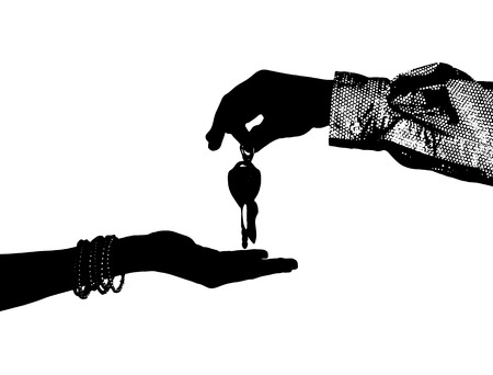 assignation: Transfer from the car ignition keys isolated Stock Photo