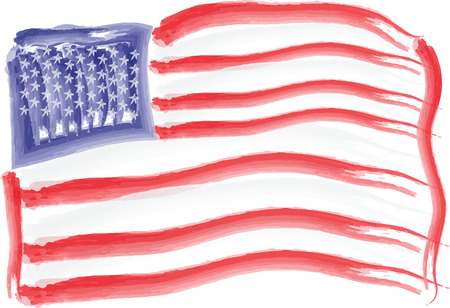 U.S. flag painted with watercolors as a background for Independence Day Vector