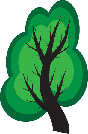Simple illustration of a tree in the style of cartoons, nature and ecology concept Vector