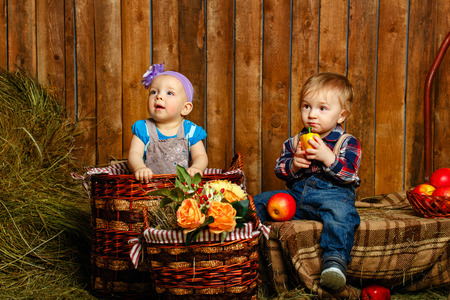 trifles: Little brother and sister playing in the barn on the farm, lies around hay and other rural trifles