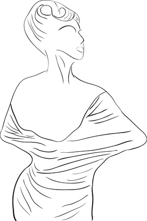 Simple outline silhouette dancing girl  Illustration