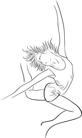 Simple outline silhouette dancing girl ballerina Stock Vector - 29390779