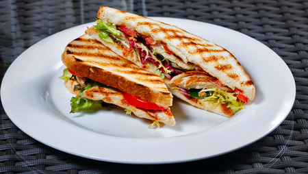 Appetizing sandwich with chicken and vegetables on a white plate for breakfast at a cafe photo