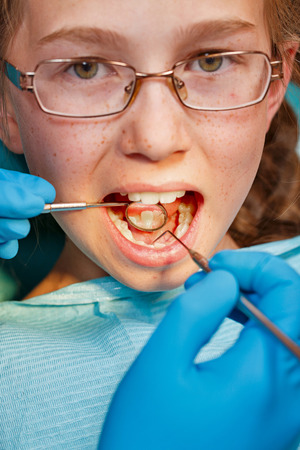 Child on inspection the dentist in the dental clinic Stock Photo