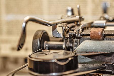 Retro vintage typewriter closeup shot office supplies