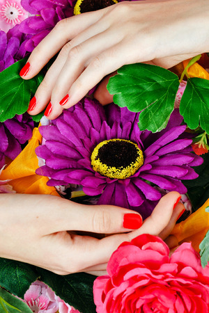 fem: Beautiful female hands with manicure holding flowers close-up shot