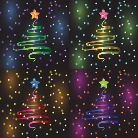 Christmas tree vector illustration set for holidays Vector