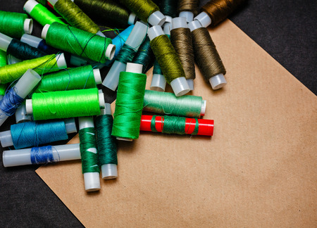 craft material tinker: Tools trendy designer clothing paper and yarn Stock Photo