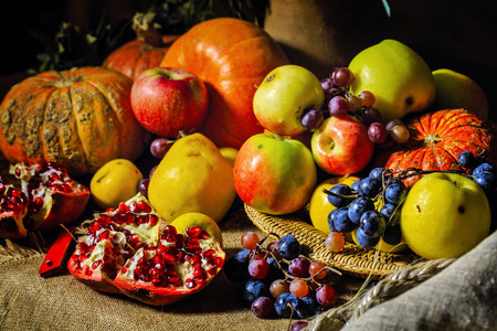Still life harvest festival of fresh and ripe fruits and vegetables: pumpkin, apples, pears, grapes and pomegranates photo