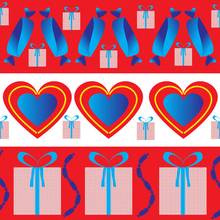 Design wrapping paper for Valentines day. The figure has a heart, candy and gift. Vector