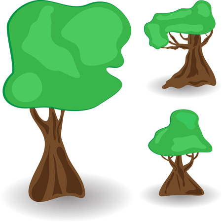 Set of vector cartoon trees on a white background. Vector